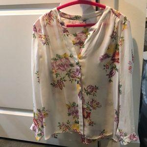 Beautiful Joie sick blouse floral & ivory sz S